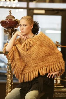 Whiskey Knit Mink Poncho
