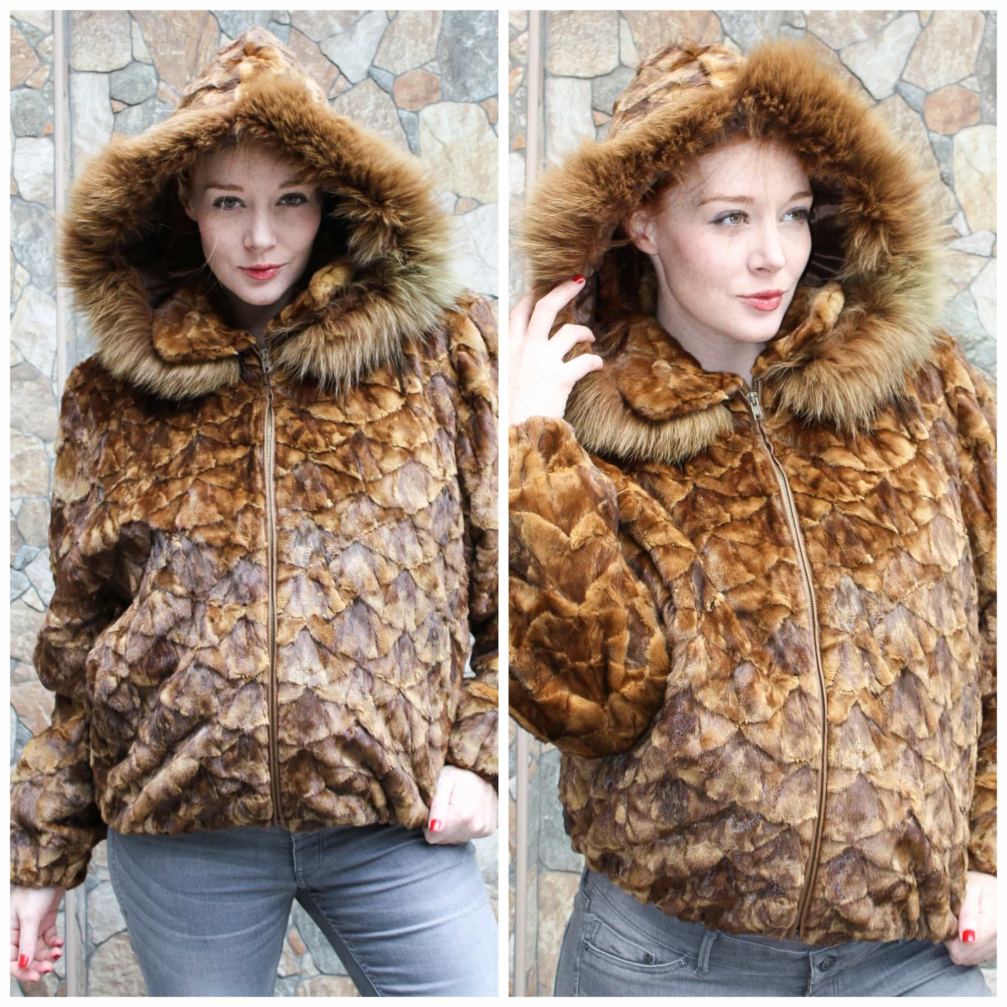 Hooded Whiskey-colored Sculptured Mink Jacket, now on Clearance from Marc Kaufman Furs NYC For a limited time -- only $595 --