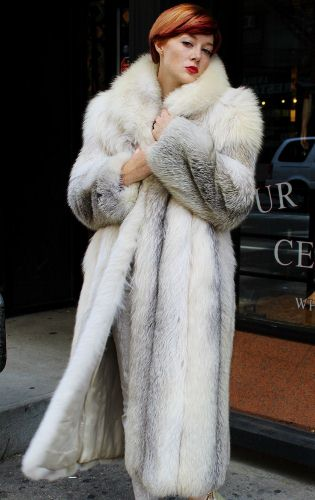 Full Length Platinum Fox Fur Coat 4
