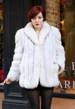 Dominique Shuminov in a White Blue Fox Jacket