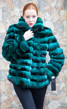 Emerald Green Chinchilla Horizontal Fur Jacket