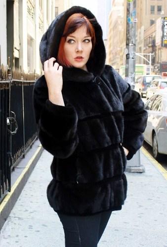 Dominique Shuminova in Hooded Ranch Mink Jacket (5)