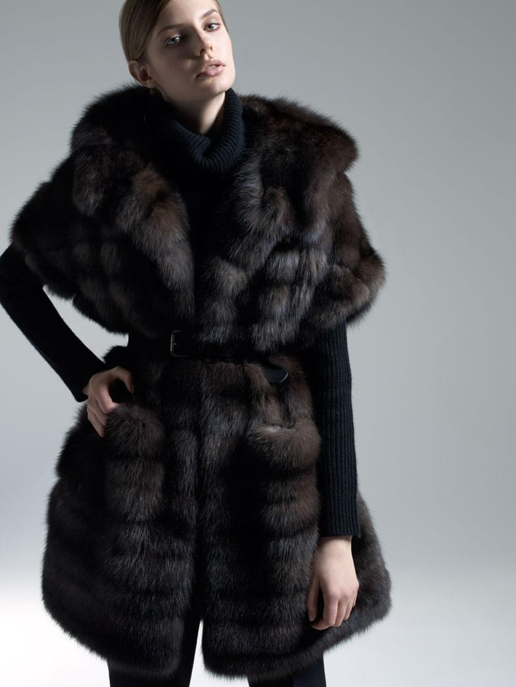 Dark Russian Sable Fur Coat with Cropped Sleeves