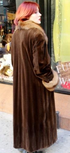 Chocolate Sheared Mink Fur Coat Full Lenth Golden Sable Fur Collar and Cuffs 2
