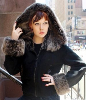 Black Shearling Jacket Grey Shearling Fur Hood 8892