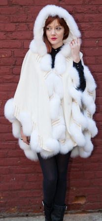 White Cashmere Cape Matching White Fox Border Trim Marc Kaufman Fur Store Furs NYC
