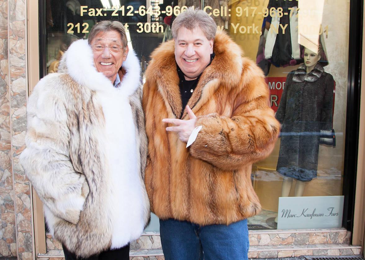Joe Namath (shown here with Marc Kaufman) wearing his Marc Kaufman Furs custom coyote coat