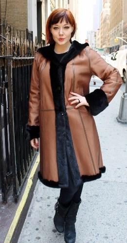 Reversible Ranch Mink Short Coat Cognac Leather Hooded (7)