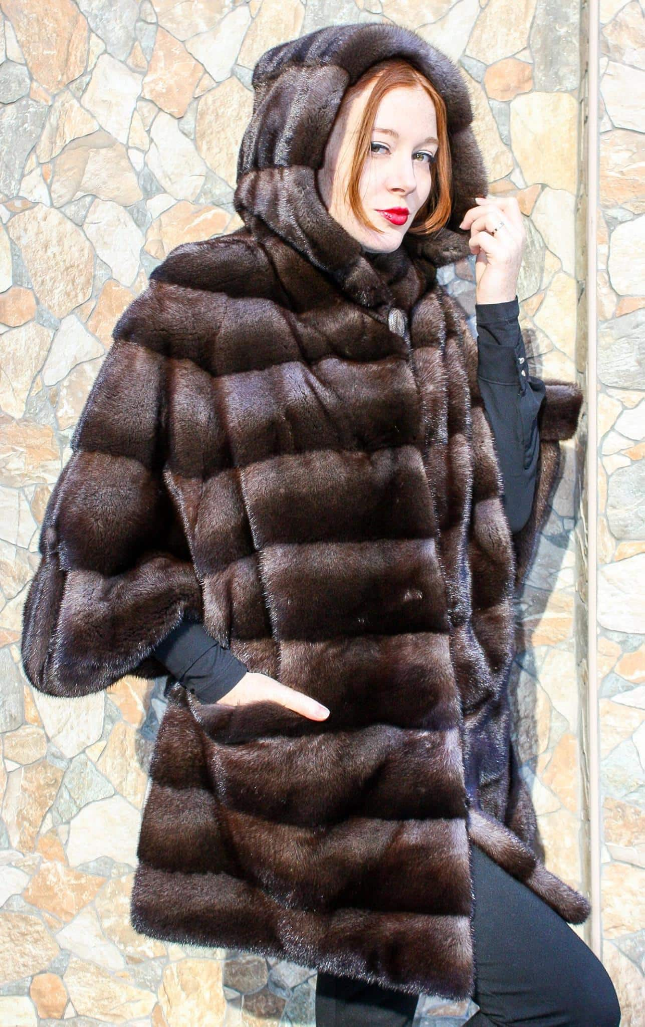 Hooded Casper Demi Mink Coat, Now only $4495 on Clearance at Marc Kaufman Furs www.kaufmanfurs.com