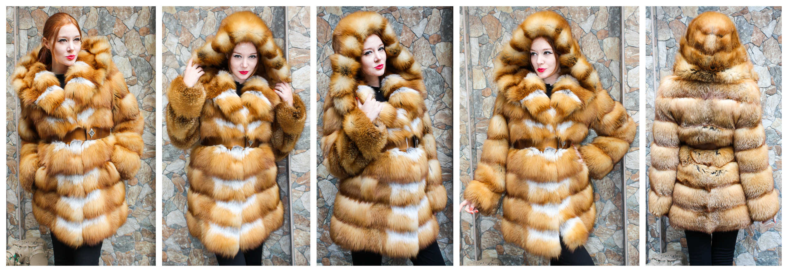 Red Fox Fur Stroller with Belt & Hood, exclusively from Marc Kaufman Furs in NYC