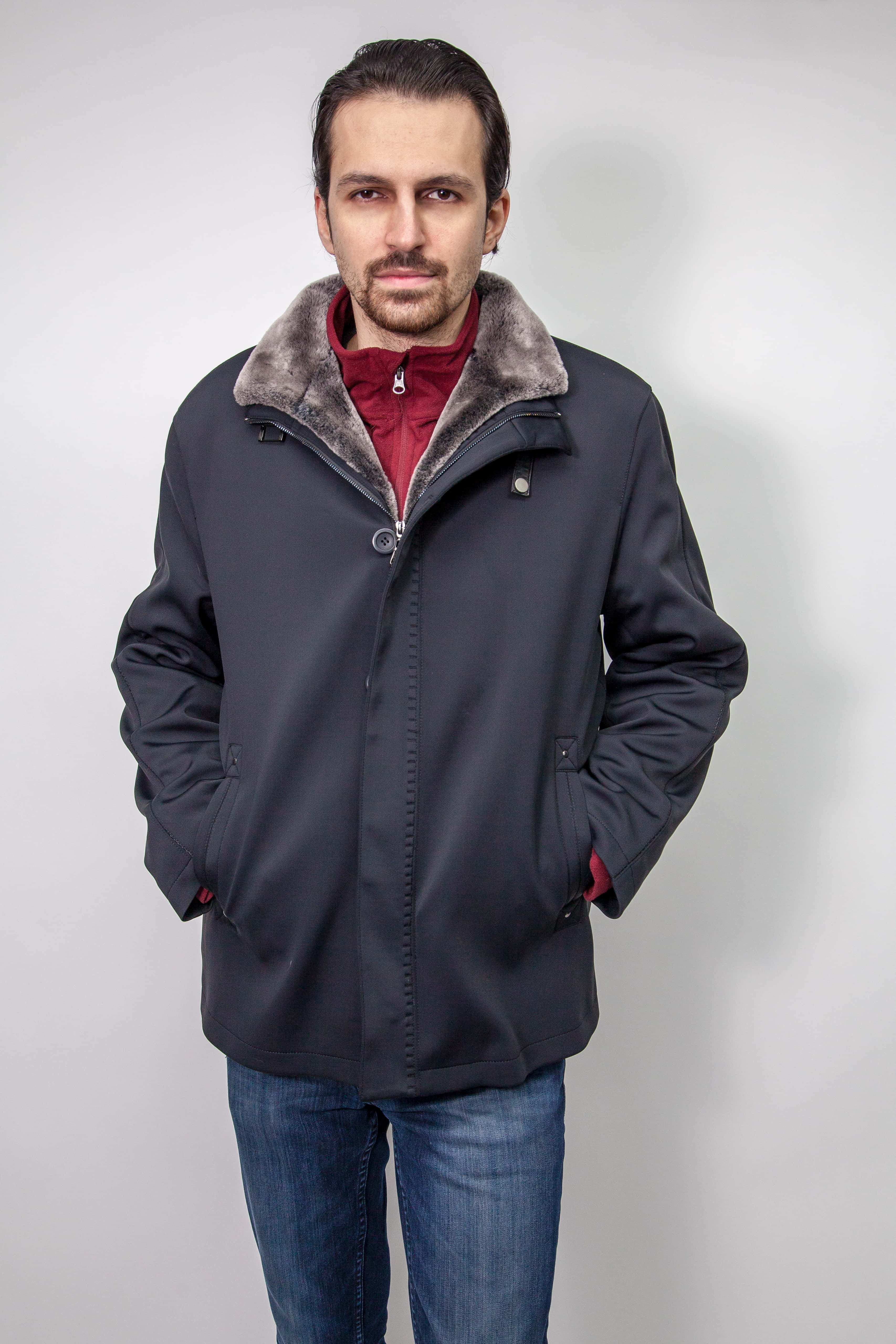 Men's microfiber jacket with shearling lining, no only $795 from Marc Kaufman Furs