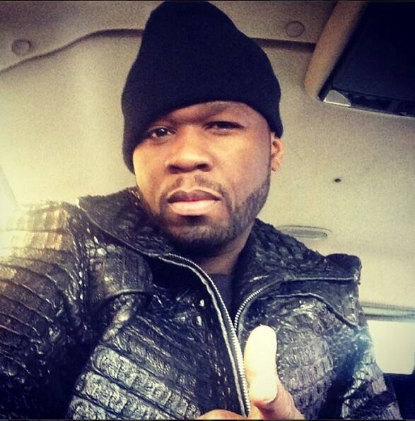 Rapper 50 Cent in a Marc Kaufman Furs Alligator Jacket