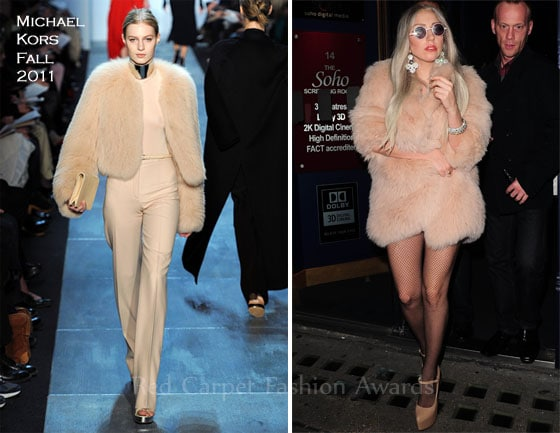 lady Gaga wears fur coats on the red carpet