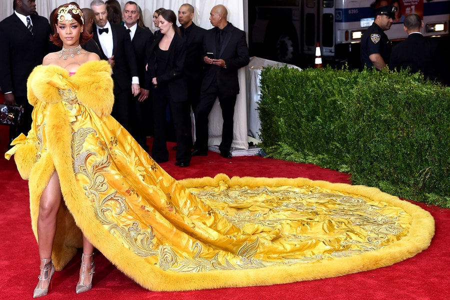 Red carpet furs coats Rihanna