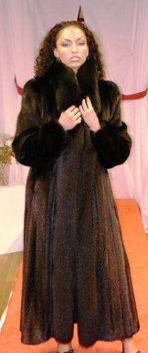Beautiful Ranch Mink Full Length Fur Coat Black Fox Tuxedo Fronts