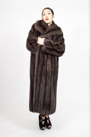 Woman Wearing a Classic Full Length Russian Sable Coat with a Wing Collar