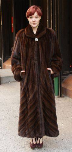 Mahogany Female Mink Coat Full Length Directional Design 8441MARC ...