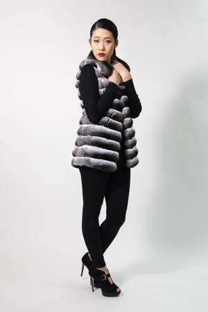 Marc Kaufman Furs presents a horizontal chinchilla fur vest from Marc Kaufman Furs USA,Fur coats in Argentina, fur coats in Chile, fur coats in Venezuela, fur coats in Australia, fur coats in Belgium,fur coats in Netherlands, fur coats in Norway,fur coats in Sweden,fur coats in Dubais,fur coats in Egypt,fur coats in Egypt,fur coats in Kuwait, fur coats in South Africa,fur coats in Tunisia,fur coats in the Falklands