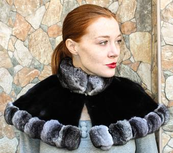 black sheared mink cape chinchilla fur trim