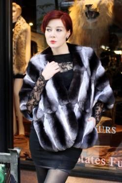 Black Velvet Chinchilla Fur Cape