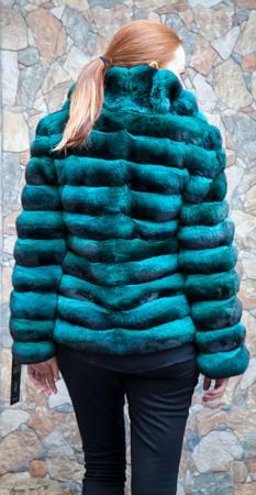 Emerald Green Chinchilla Horizontal Fur Jacket