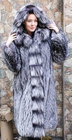 Silver Fox Fur Stroller Hood