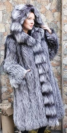 Silver Fox Fur 7/8 Fur Coat Silver Fox Fur Hood 6654 | MARC