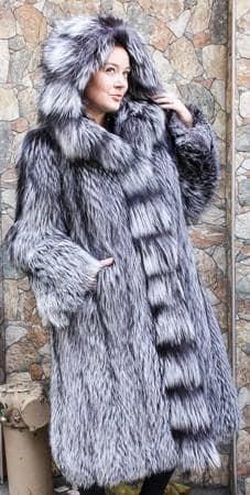Silver Fox Fur Stroller Hood Marc Kaufman Furs NYC
