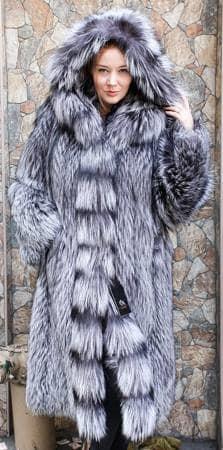 Amazing Silver Fox Fur Stroller Hood Marc Kaufman Furs NYC Fur