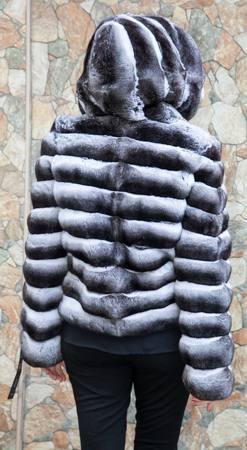Fabulous Hooded Chinchilla Fur Horizontal Design Jacket