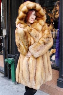 Red Fox Fur Stroller Hooded Cross Cut