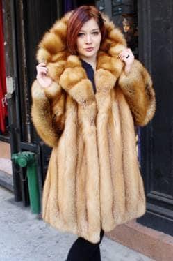 Classic Sporty Red Fox Fur Stroller Hooded Cross Cut