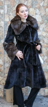 Blackglama Mink Fur 7/8 Coat Sable Collar Cuffs