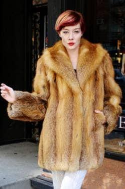 Red Fox Fur Stroller shawl Collar Jacket