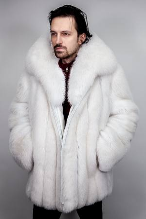 Men's Blue Fox Fur Bomber Jacket 5533 | MARC KAUFMAN FURS