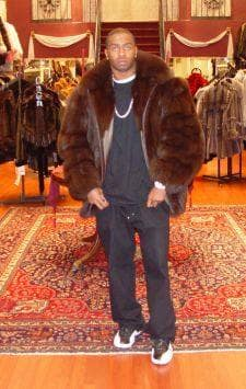 Brown Fox Mens Fur Bomber Jacket