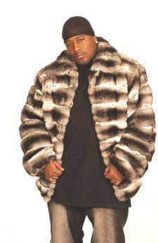 Mens Chinchilla Fur Bomber Jacket Horizontal
