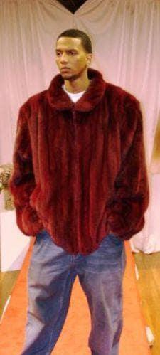 Burgundy Mens Mink Bomber Fur Jacket