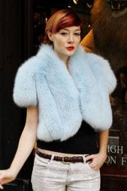Baby Blue Fox Fur Cape Jacket