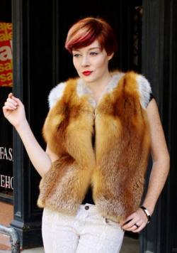 Natural Red Fox Fur Vest Marc Kaufman Furs NYC Fur Store