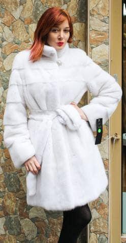 White Mink Fur Stroller Horizontal Stripes Belt 99877 Image