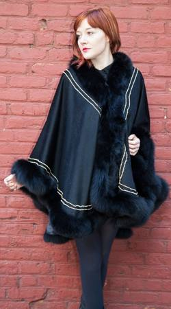 Stunning Black Cashmere Cape Black Fox Fur Border Gold Trim
