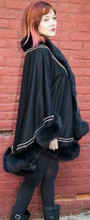 Classic Black Cashmere Cape Black Fox Fur Border Gold Trim