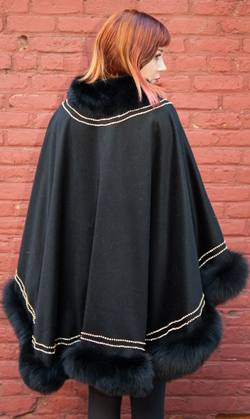 Evening Black Cashmere Cape Black Fox Fur Border Gold Trim