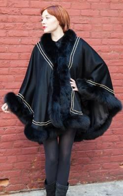 Black Cashmere Cape Black Fox Fur Border Gold Trim