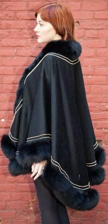 Black Cashmere Cape Fox Fur Border Gold Trim