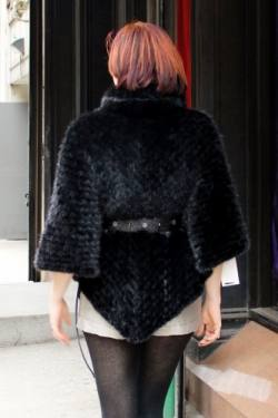 Black Knit Mink Fur Cape Belt