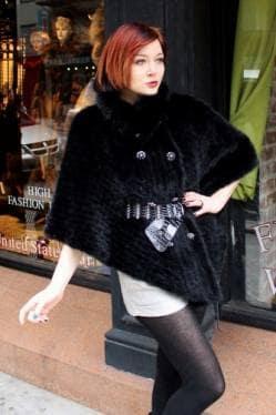 Black Knit Mink Fur Cape Belt Fur Store NYC
