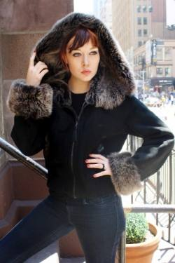 Black Shearling Jacket Grey Shearling Fur Hood 8892
