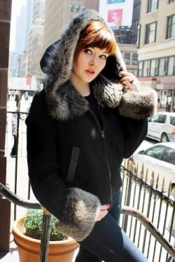 Black Shearling Jacket Grey Shearling Fur Hood Best Fur Store NYC